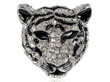 Emblem Crystal Rhinestone Black White Stripe Snow Tiger Feline Cat Head Brooch