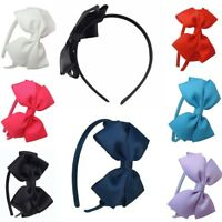 Kids Girls Cute Hair Bands School Bow alice Band headband 8 Colours Satin Fabric