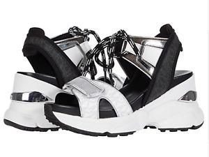 MICHAEL KORS Womens Irma Sandals MK Signature Wedge Slingbacks White Black Sz 11