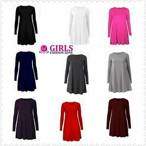Girls Comfortable Fashionable Plain Long Sleeves Knee Length Flare Swing Dresses