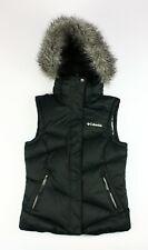 Women's Columbia OMNI HEAT Shield Black Puffer Down Vest With Faux Fur Hood XS