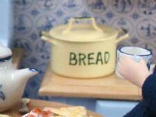 Cream & Green Bread Bin, Dolls House Miniature Kitchen Dining Accessory