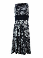 Jessica Howard Women's Ruched Waist Floral Print Jersey Dress 8P, Navy/Ivory
