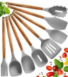Utensili Cucina Silicone Set Mestoli Cucina Silicone 8 pezzi in Legno di Acaccia