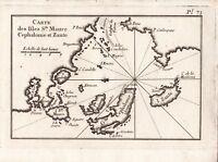 Carte Géographique XVIIIe Iles Ste Maure Leucade Λευκάδα Lefkada Grèce 1764