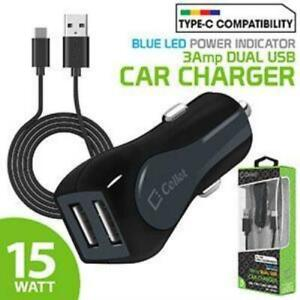 Dual USB Car Adapter & Type C Data Sync/ Charge Cable Samsung Galaxy S20 S10 S9