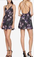 Fame and Partners Black Multi Dress Size 6 Floral Print Crisscross Back New*