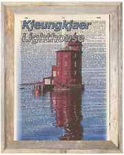 Kjeungkjaer Lighthouse Norway Altered Art Print Upcycled Vintage Dictionary Page