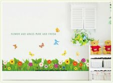 Butterflies and Flowers Skirting border Wall Stickers Flower fence Grass Nursery
