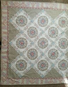 """Vintage 63"""" × 62"""" Patchwork Quilted Wall Hanging Cotton Machine Stitched"""