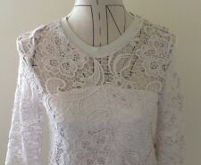 Zara Lace Top, Stone Colour, Size 8, Mid Sleeve