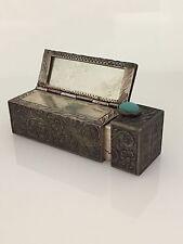 Vintage 800 Silver Lipstick Holder Etched Case Holder With Mirror
