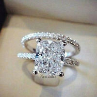 2CT Princess-Cut Diamond Solitaire Bridal Set Engagement Ring 18k White Gold