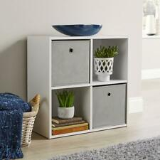 Storage Cube 4 Shelf Bookcase Wooden Display Unit Organiser White Seconds