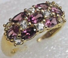 CERTIFIED Genuine Garnet and Topaz Gemstone Ring 14K Yellow Gold FREE SIZING