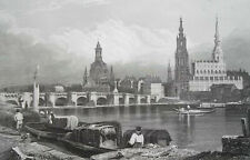 GERMANY View of Dresden - 1840s Antique Print Engraving