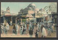 1908 CP de Tunis 5c vert Obl à Toulon Griffe Cuirassé CHARLES MARTEL Sup. X3555