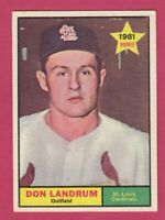1961 Topps # 338 Don Landrum -- St. Louis Cardinals -- Box 722-618