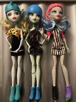 Monater High 3 Skate Dolls Mattel  Luna Blue Frankie Ghoulia Yelps