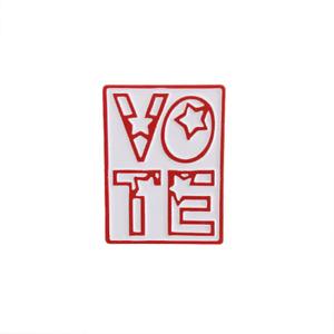 VOTE Red & White Enamel Pin Vintage League of Women Voters Design