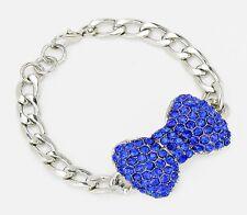 Fashion Blue SP Rhinestone Crystal Pave Bow Curb Chain Bracelet (NWT)