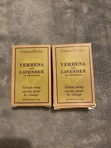 x2 Crabtree and Evelyn Verbena and Lavender Facial Soap Bar 25g