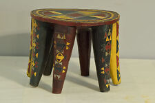 African Stool African Nupe Painted Wood Carved Nigeria Yellow Green Nupe Stool