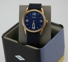 NEW AUTHENTIC FOSSIL LEDGER ROSE GOLD BLUE NAVY LEATHER MEN'S BQ2306 WATCH