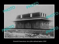 OLD LARGE HISTORIC PHOTO OF FENWICK CONNECTICUT, THE RAILROAD STATION c1910