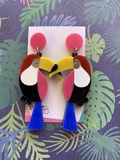 Acrylic Toucan Bird Tropical Dangle Earrings, Pink Tops, Surgical steel stud