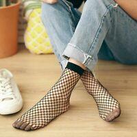 1Pair Women Sexy Ankle Fishnet Socks Flat Mesh Socks Harajuku Mesh Short Socks