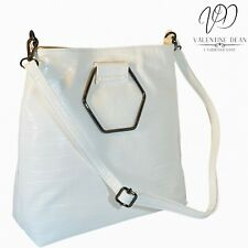 JD Williams Women's Handbag Hexagon Handle White Croc Bag
