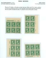 "US Scott #383, 4 Imprint ""A"" Plate Blocks/6, Mint-XF-OG-NH/Hinged (DK-4-21-21)"