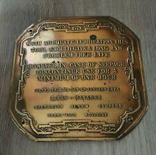 Vintage Brass Sign Plaque Victorian Screw Company Reeth Moor Yorkshire