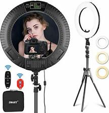 EMART 18 Ring Light Adjustable Stand Dimmable Filter LCD Photography Remote Wifi