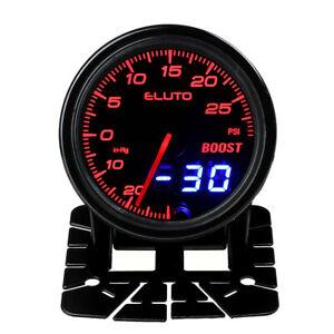 """2"""" 52mm Car Turbo Boost Gauge Pressure Meter Psi Digital & Pointer 10 Color LED"""