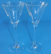 """Pair of Grey Goose Martini Glasses 7 1/2"""" Tall Etched Logo Perfect Logo on base"""