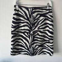 Vintage Y2K 90s FauxFur Zebra Print High-Waist Straight Mini Skirt AU10 S Lined