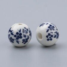 10pcs Handmade Blue Flower Porcelain Beads 8mm Round Jewellery Making