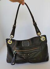 B. Makowsky Black Leather Shoulder Bag Purse Monogrammed Silver Metal