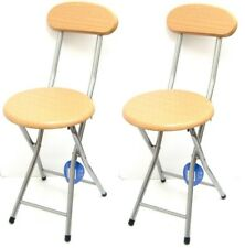 2 x MDF Beechwood Junior's Folding Stool Chair Back Rest Kids Breakfast Stool