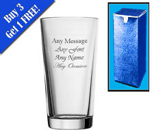 Personalised Engraved Perfect Pint Glass With Gift Box - Any Message Engraved!!