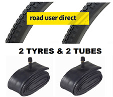 2 x 27x1 1/4 Black Tyres & 2 x Inner Tubes - Schrader Valves - Free Delivery