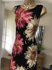 Wallis black floral floaty chiffon special occasion cocktail party dress size 16