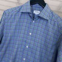 ETON Slim Fit Fine Twill L/S Cotton Dress Shirt Multicolor Plaid Men's Size 15.5