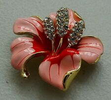 Large Pink Lily Enamel Flower Floral Fashion Brooch Pin Brand New FREE P&P
