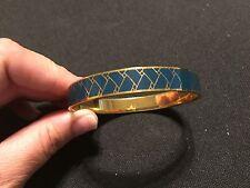 Jcrew Blue Enamel Pattern Bangle Bracelet Gold Tone