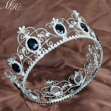 Black Crystal Crowns King Queen Full Round Tiaras Diadem Pageant Party Costumes
