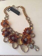 J.Crew Tortoise Look Flower STATEMENT Necklace NEW