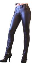 Señora pantalones de cuero de cuero jeans lammnappa Pants real Leather Echt Leder Negro Talla L